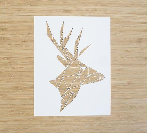Laser-Cut Papercutting Artwork  Geometric Deer Head