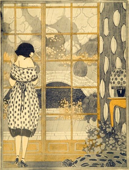 Girl Gazing Out Window. Print of Painting by Anichini in 1921 in Art Deco style.