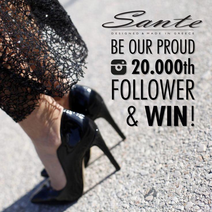 Be our Proud 20.000th Follower & Win SANTE pumps #Sante20000th More: http://instagram.com/p/yOxeKYnqCg/