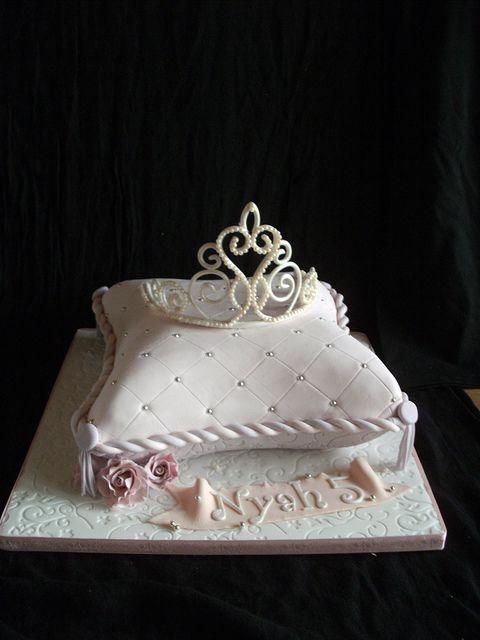 Pillow cake and edible tiara by Cakes by Lea, via Flickr