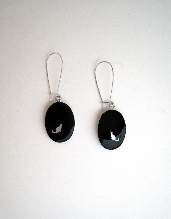 Cat earrings black resin earrings minimalist earrings cat by xroma