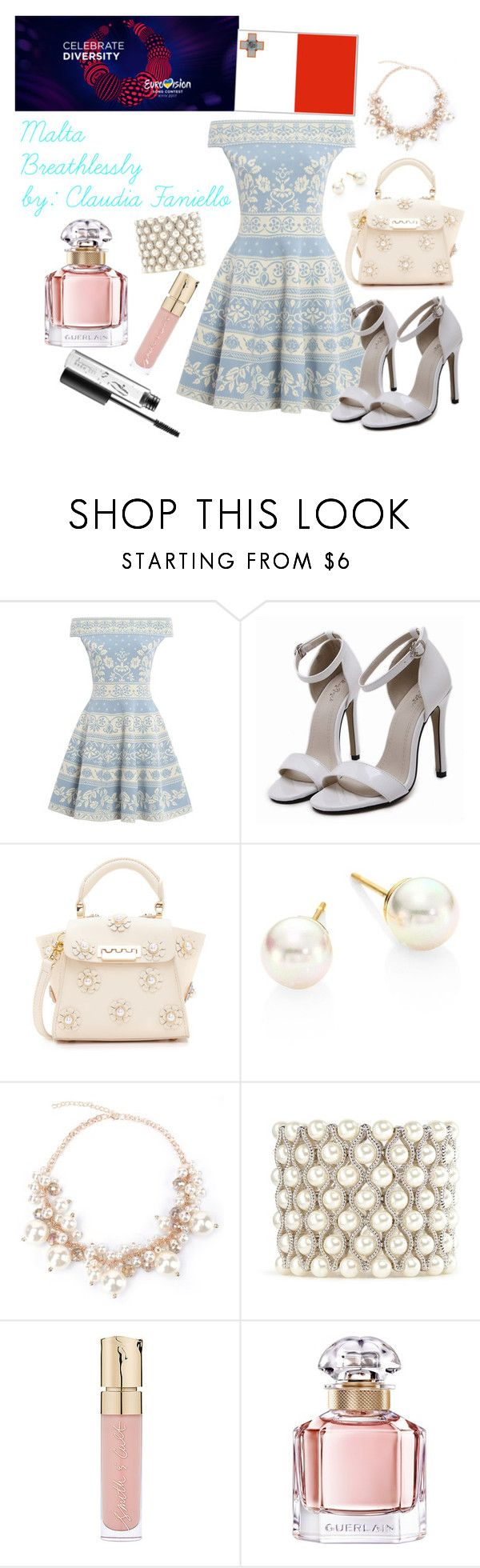 """Malta Eurovision 2017"" by grace-buerklin ❤ liked on Polyvore featuring Alexander McQueen, ZAC Zac Posen, Majorica, Kenneth Jay Lane, Smith & Cult, Guerlain, MAC Cosmetics and eurovision2017"