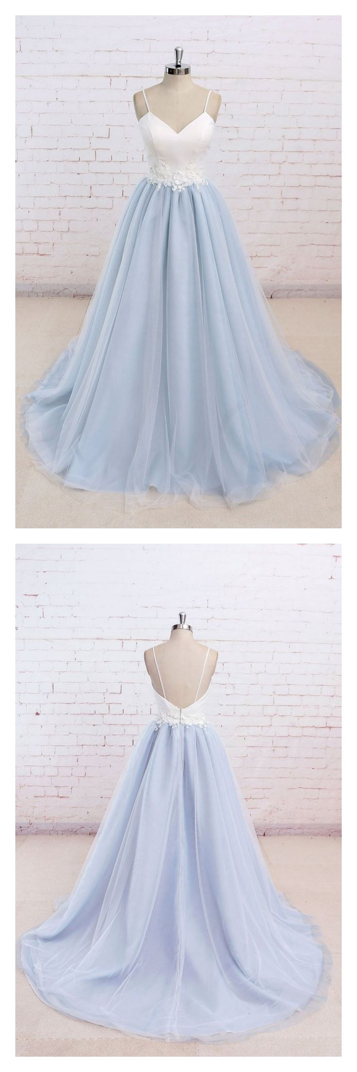 long prom dresses, spaghetti straps long prom dresses, a line prom dresses, sky blue prom dresses, evening dresses, prom ball gown #fashionpromdresses #fashion #love
