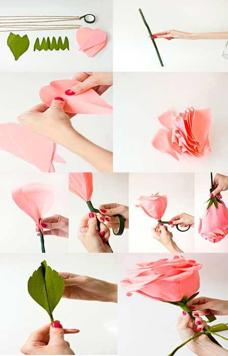 Como hacer rosas gigantes de papel crepe flores for Como hacer una pileta de material paso a paso