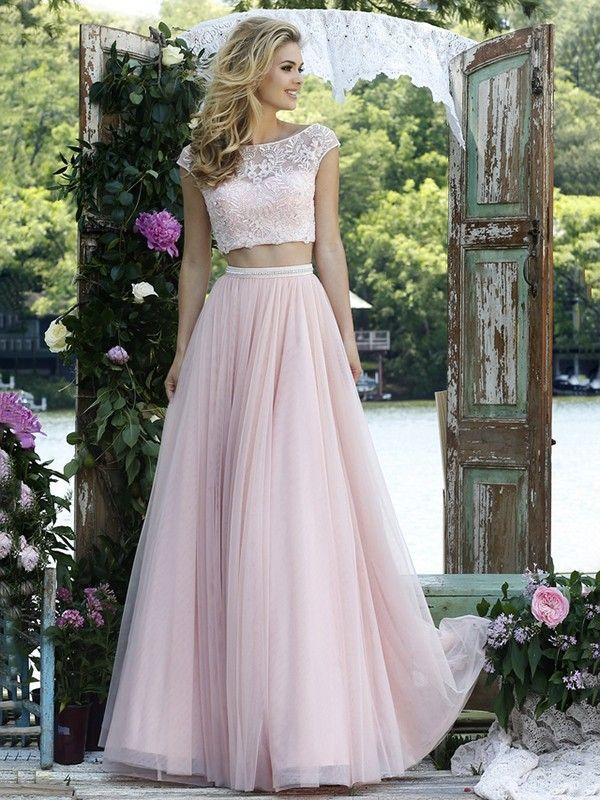 A-Line/Princess Bateau Sleeveless Floor-Length Tulle Applique Two Piece Dresses