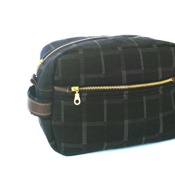 Men's Toiletry Case // Dopp Kit Bag// Wedding Gift // Travel Toiletry Pouch in Black Checked Gingham