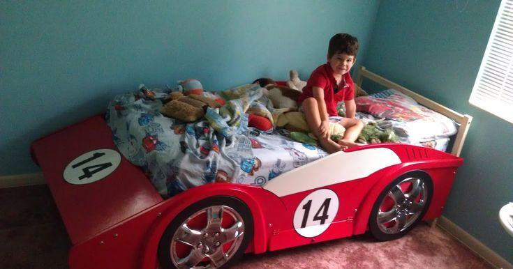 RACE CAR BED  - wood, wheels, rims, tablesaw, race car, racecar, tires, bed frame, IKEA Fjellse   IDEAS I LEARNED  from my internet sea...