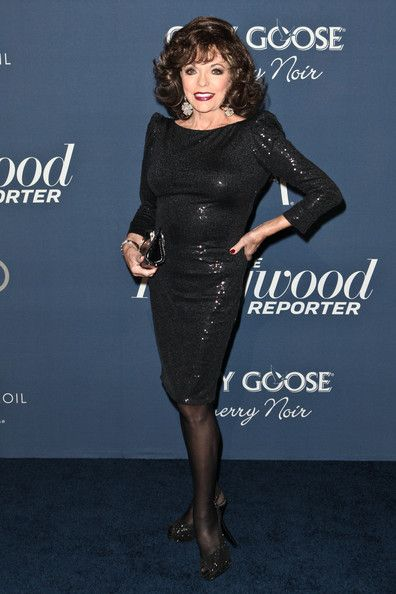 "2012.02.23 Joan Collins arrives at The Hollywood Reporter's 'Nominees' Night 2012' A Celebration of the 84th Annual Academy Awards at the Getty House in Los Angeles. - The Hollywood Reporter's ""Nominees' Night 2012"" A Celebration Of The 84th Annual Academy Awards - Red Carpet"