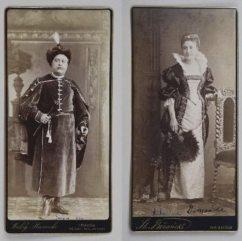 Juliusz Kossak i Antonina Domańska (Deotyma) w strojach polskich na balu kostiumowym 1893