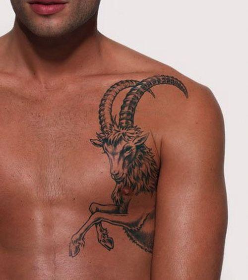 Capricorn Tattoo On Guy Chest