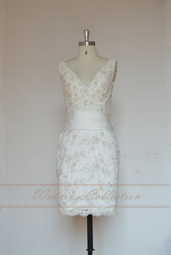 Open back short lace wedding dress Elopement by Weddingcollection, $179.99 @Shauna Putnam Scarborough
