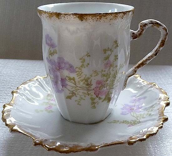 Early 1900s LIMOGES Lavender Sweet Peas and Periwinkles Fine Bone China Porcelain Teacup Saucer Set  BEAUTIFUL Free USA Shipping. $72.00, via Etsy.