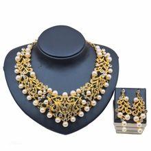 Dubai Moda Imitação de Pérolas Cor de Ouro Claro Strass Conjuntos de Jóias para Mulheres Acessórios Presente Nupcial Do Partido Do Vestido alishoppbrasil