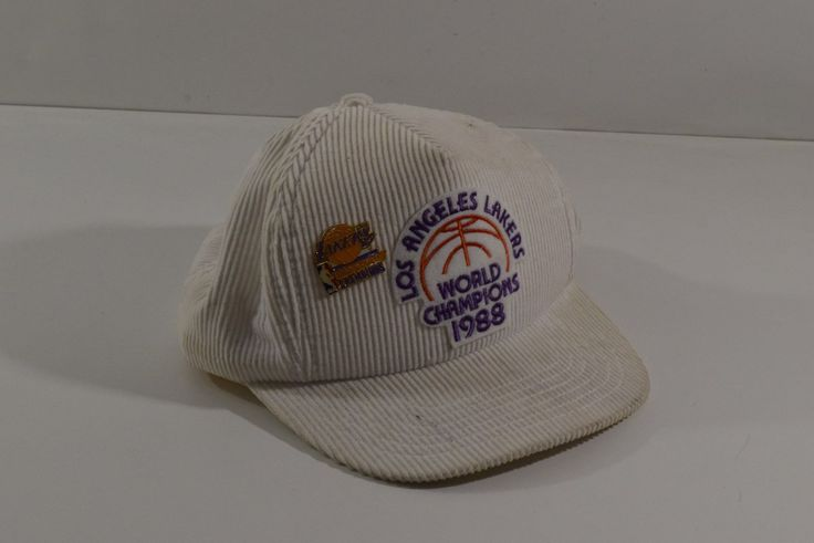 Really Worn 1988 World Champions NBA Lakers Hat + Pin