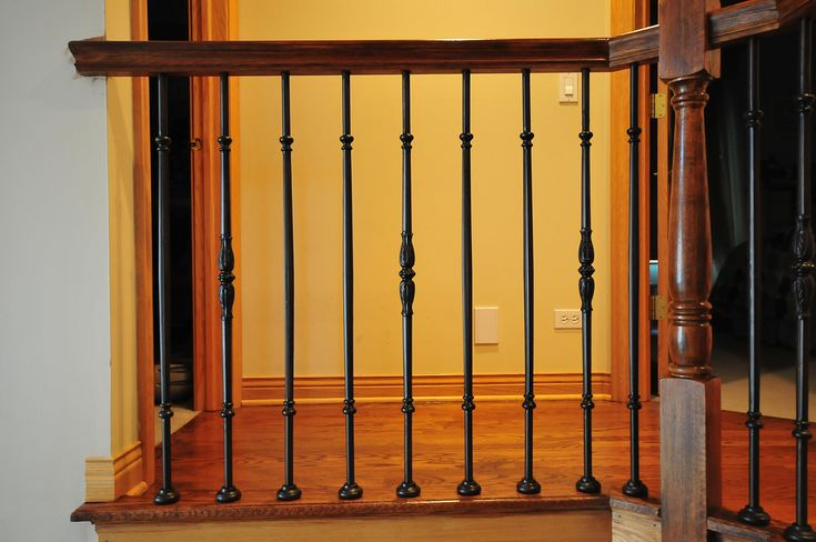 Stair remodel was completed in Park Ridge Illinois ,wood balusters was replaced with round Roman series balusters and railings was refinished from natural Red Oak to Brazilian Cherry color to make it more rich looking. www.jusalda.com