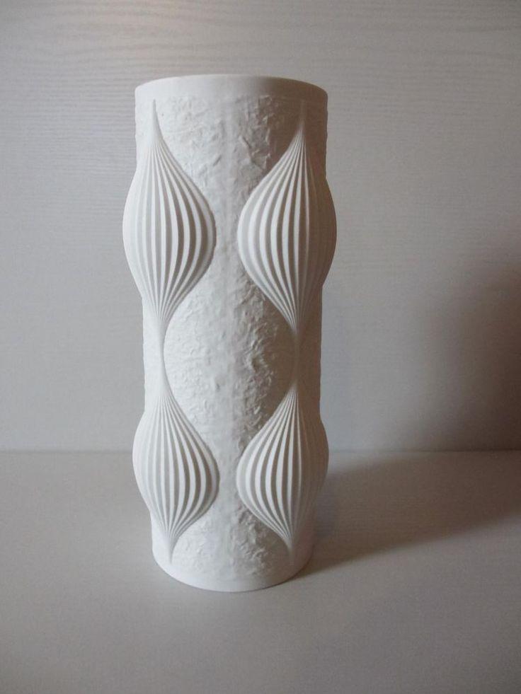 Tirschenreuth Hutschenreuther Porzellan weiß Space Age Vase 26,5cm 70er
