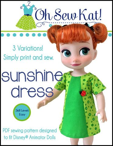 Oh Sew Kat Sunshine Dress Doll Clothes Pattern Disney Animator Dolls | Pixie Faire