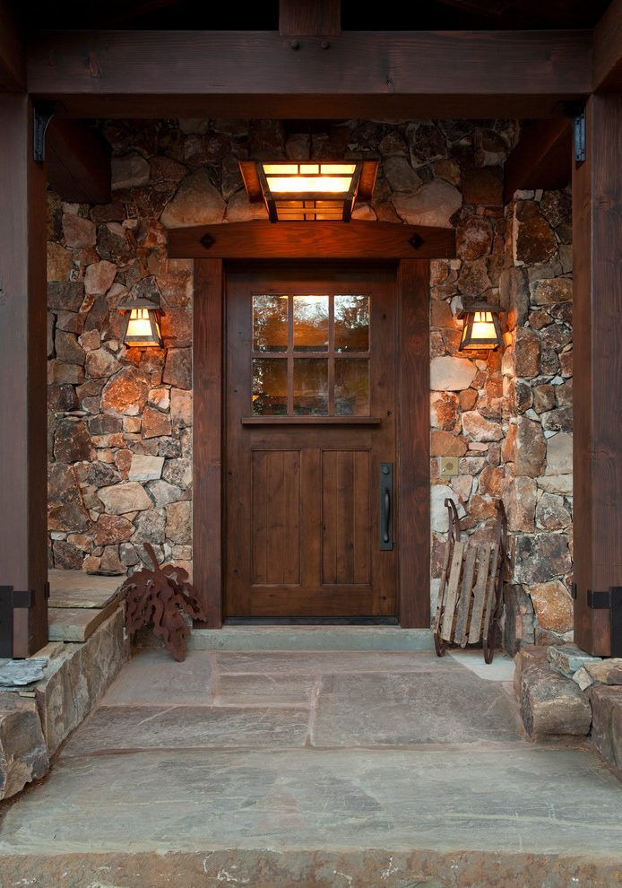 stone around front door entry rustic with entry decor transitional outdoor wall lanterns