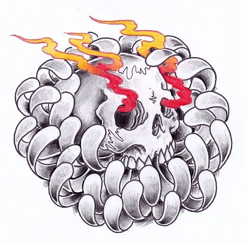 Flaming Skull Chrysanthemum Tattoo Design | Tattoobite.com ...