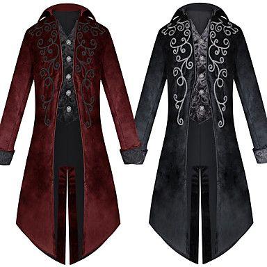 Men coat Medieval Jacket Pirate Costume Tailcoat Renaissance Adult Steampunk Gothic Victorian Tuxedo Halloween Coats 2019 coat