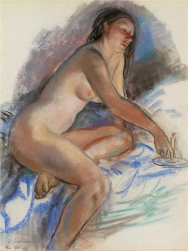 Nude with a candle. France  - Zinaida Serebriakova