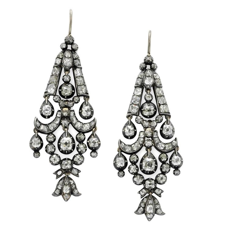 186 best chandelier earrings images on pinterest chandelier 1860s diamond silver gold earrings mozeypictures Choice Image
