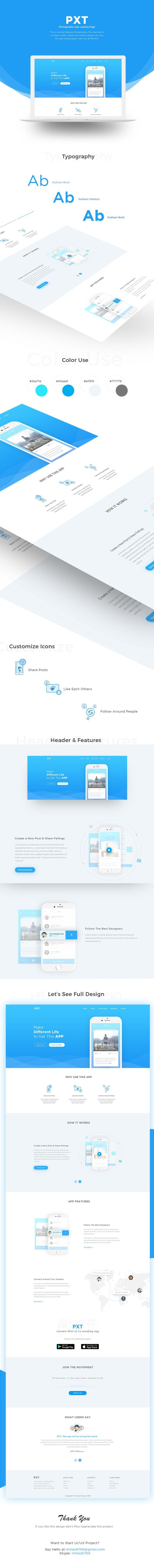 """查看此 @Behance 项目:""""PXT (App Landing Page)""""https://www.behance.net/gallery/45435185/PXT-(App-Landing-Page)"""