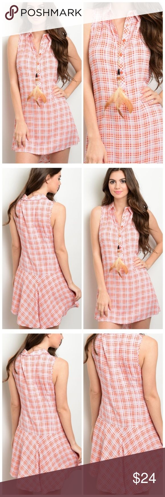 womens Button Up Sleeveless Plaid  Mini Dress New This sleeveless minidress features a button up bodice, a flared skirt hem and a pointed collar. This dress is bright and sunny with its orange and ivory mini plaid pattern and a real must have this spring and summer. The fabric is made of a sleek soft fabric that is 100%rayon and fits true to size with minimal stretch. Wear this with sandals to you favorite festival or a pair of slip ons for a picnic in the park! Satisfaction guaranteed…