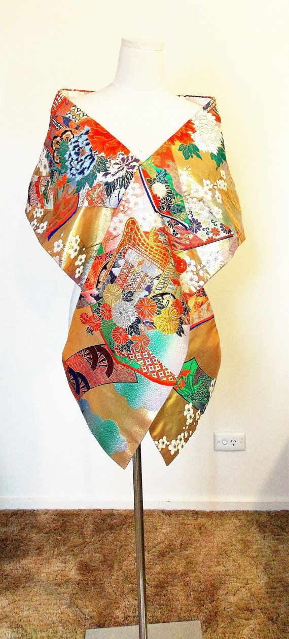 Vintage KIMONO Wedding shawl gold brocade multi color flower
