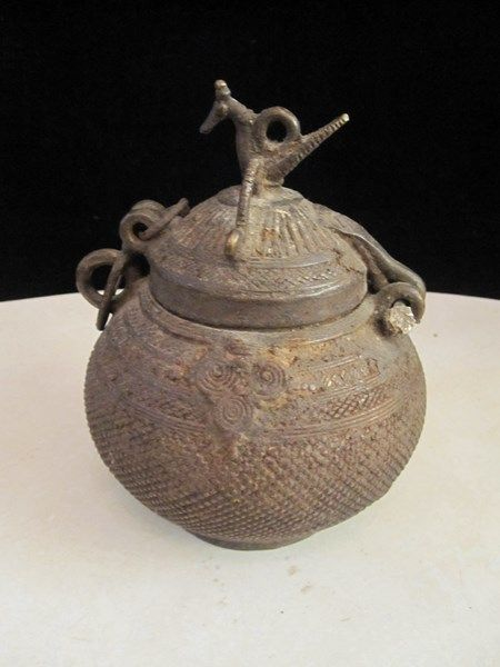 $170 · Anglo Indian 19th century handmade brass hanging urn, with wonderful patina