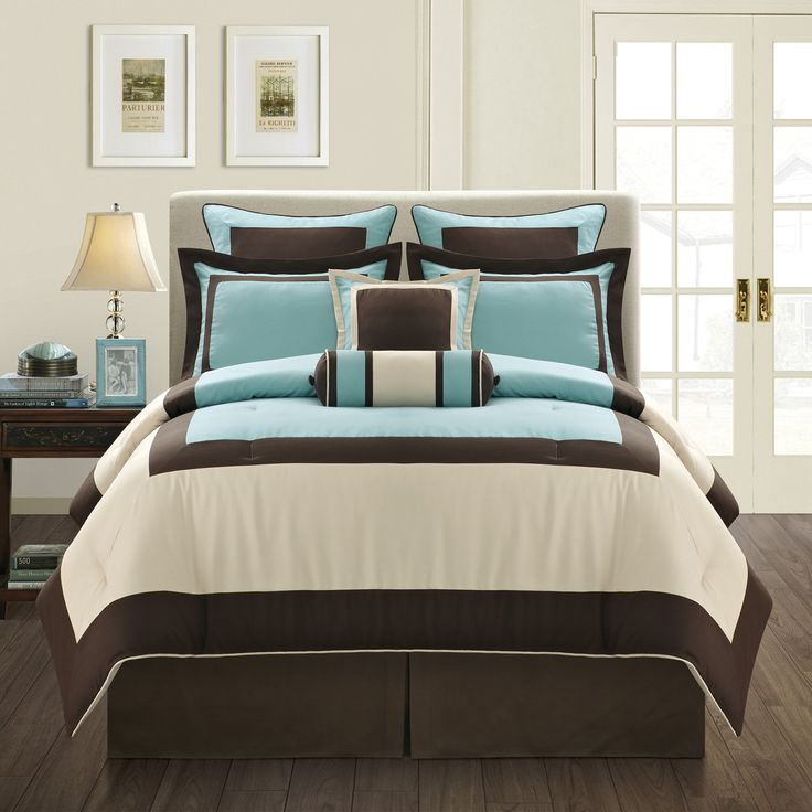 Give your bedroom a chic, boutique-style vibe with this gorgeous king-size comforter set. Made of 100 percent polyester, this thick soft bedding set has a gorgeous chocolate and aqua geometric pattern that will upgrade your space while keeping you cozy.