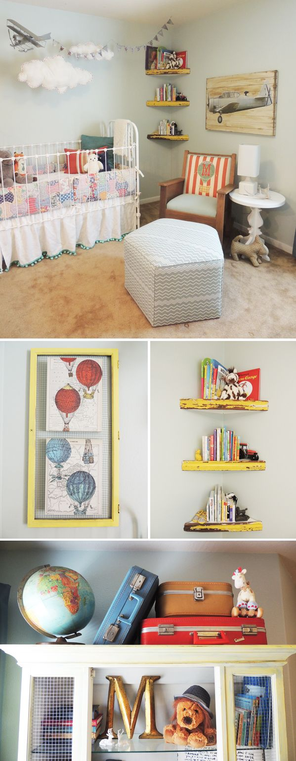 Nursery Decor/Storage: Love the yellow corner shelves and how the balloon prints are displayed! (from thehandmadehome.net - Handmade Nurseries: Little Traveler)