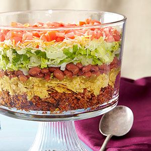 8-Layer Taco Salad, would be good without the chips too!