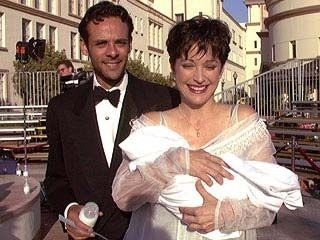 Alexander Siddig and Nana Visitor with their son Django ...