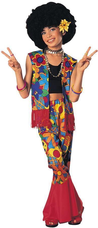 CHILDRENS GIRLS RETRO 1960S FLOWER POWER HIPPIE FANCY DRESS COSTUME - 2 SIZES #RUBIES