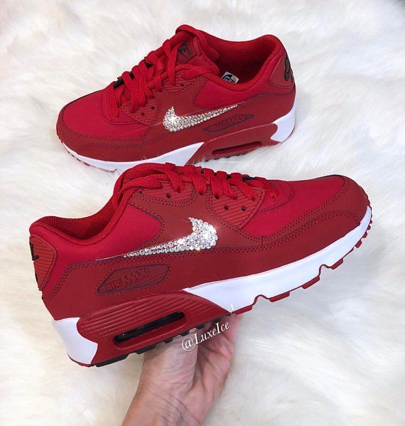 Image of Nike Air Max 90 Gym Red Black White customized with SWAROVSKI®  Xirius Rose-Cut Crystals. d78cf0fb4