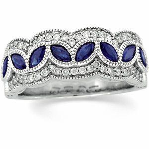 Antique Style Genuine Sapphire and Diamond. Beautiful
