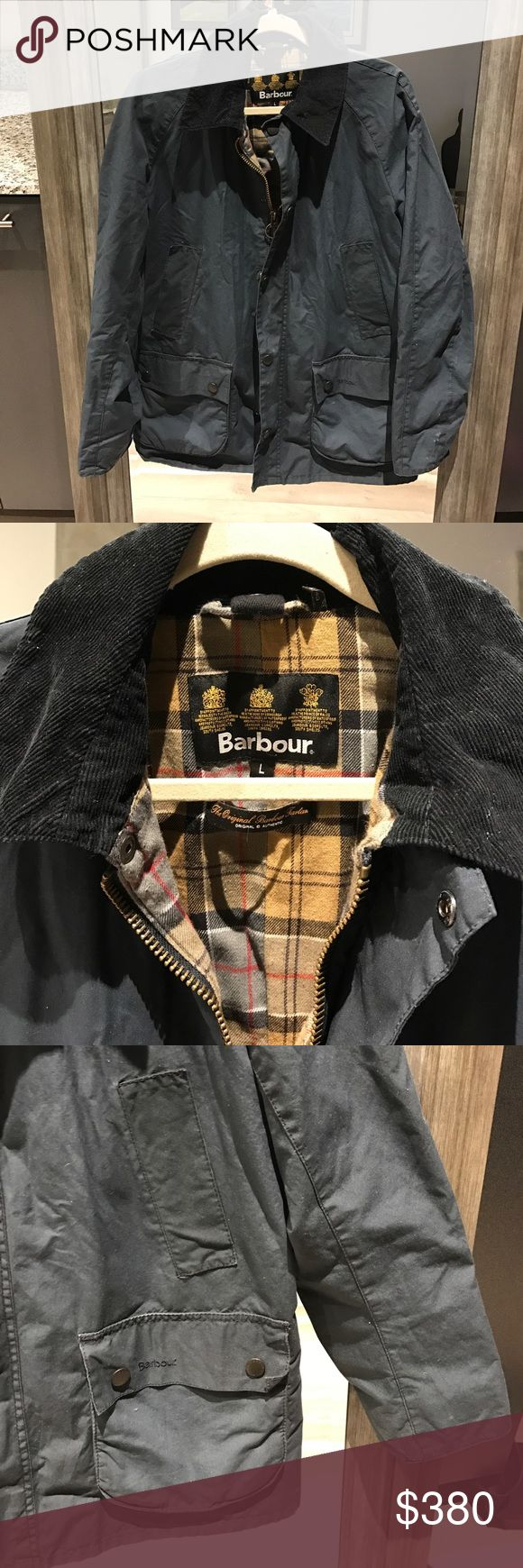 MEN'S BARBOUR CLASSIC BEDALE WAX JACKET COAT MEN'S BARBOUR CLASSIC BEDALE WAX JACKET COAT. Sold at Orvis, Bloomingdale's. See photo for description. Size Large (L). Navy Blue color. Gently used but in GREAT condition. BUY NOW OR MAKE AN OFFER !!! Barbour Jackets & Coats