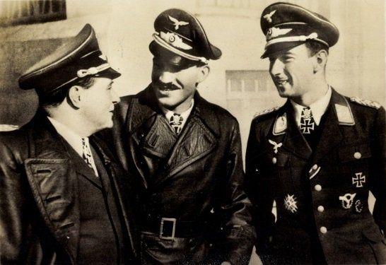 German fighter aces Ernst Udet, Adolf Galland, and Werner Mölders. 1941