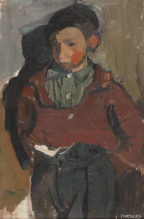 Joan Eardley RSA (British, 1921-1963). Glasgow Boy, oil on canvas, 45.75x30.5 cm. (18x12 in.)