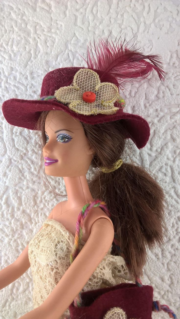 Burgundy hat and bag for Barbie . Hand made felt hat and purse for 12inch fashion doll. OOAK Barbie accessories. Flower and feather decs. by Nobodyknitsitbetter on Etsy
