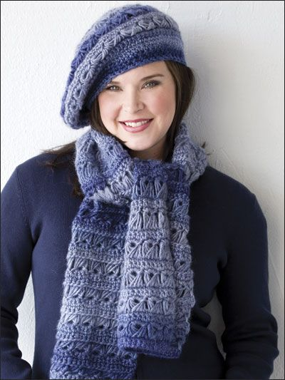 Broomstick Lace Beret & Scarf