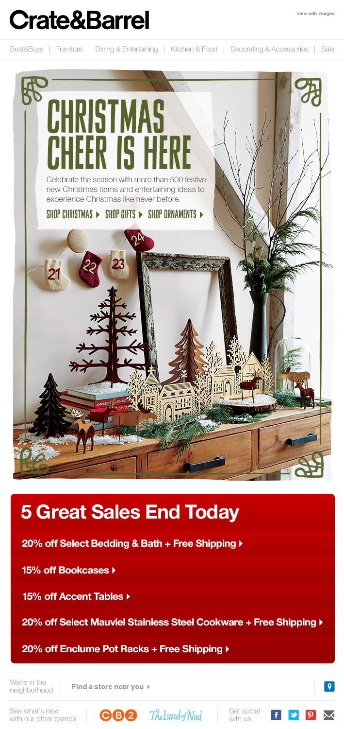 Re-engagement email from Crate & Barrel