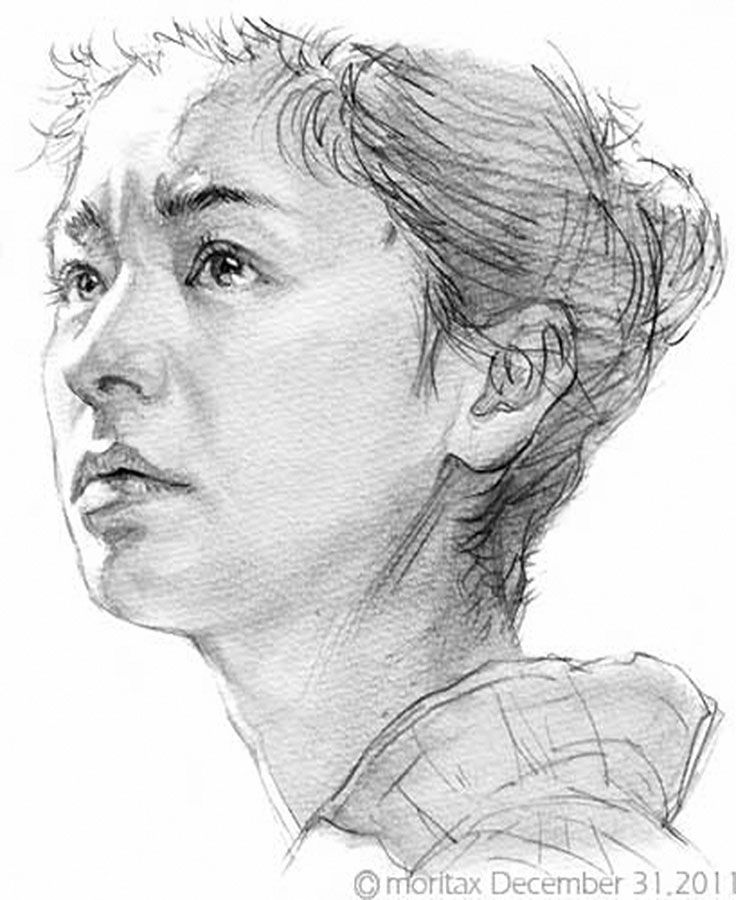 Shin Morita, Chinese female portrait drawing, 2011