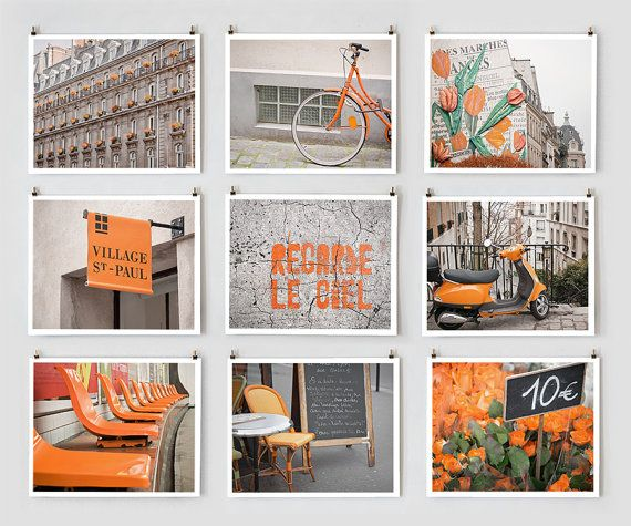 Paris Photography Collection Orange  French Fine by littlebrownpen, $145.00Wall Art, Wall Decor, Orange, Kitchens Wall, Paris Decor, Colors Photography, Paris Photography, Art Prints, Colors Coordinating