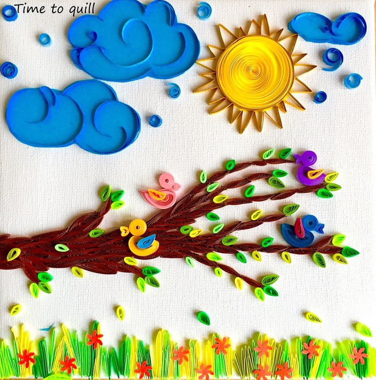 Sunny Morning Paper quilled Nurery Decor Canvas art by Time2Quill
