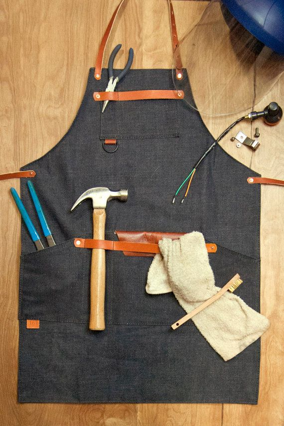 Shop Apron  Denim Raw Denim 14oz Denim Leather by 1point61 | Etsy