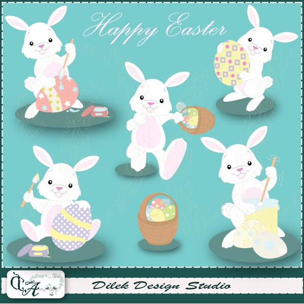 Cute Dilek Happy Easter clipart perfect for your craft project, scrapbooking, invitation, web design, paper product, design card and everything else.  Great for cute announcements web store fronts, blog design or simple enough for embroidery