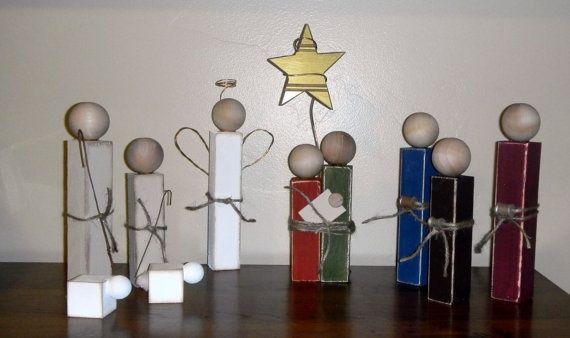Simple wood nativity set using 2x2 wood and ... | holiday craft ideas
