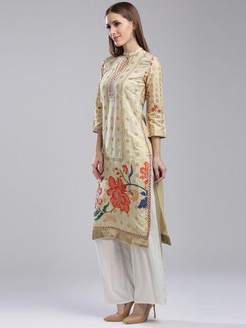 9c9231b0d Buy W Women Cream Coloured Printed Straight Kurta - Kurtas for Women  2223837